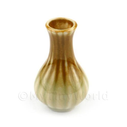 2x Maison de poupées miniature faience incurvée vase/Wine Storage Pots