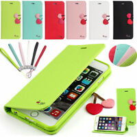 Luxury Magnetic Cherry Leather Wallet Flip Case Stand Cover For Apple iPhone