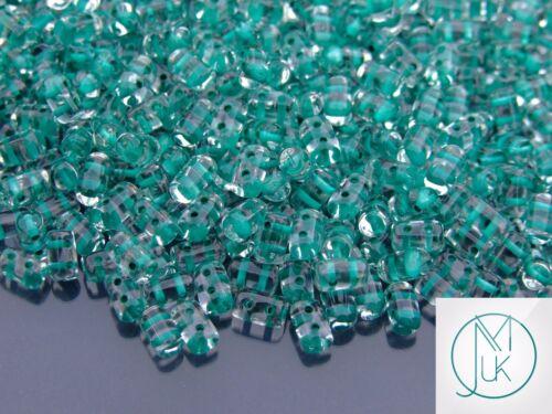 10g Czech Rulla Twin Beads Teal Lined