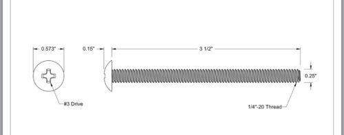 Qty 100 1//4 X 3-1//2 Truss Head Extra Wide Machine Screw BLACK OXIDE Long Bolt