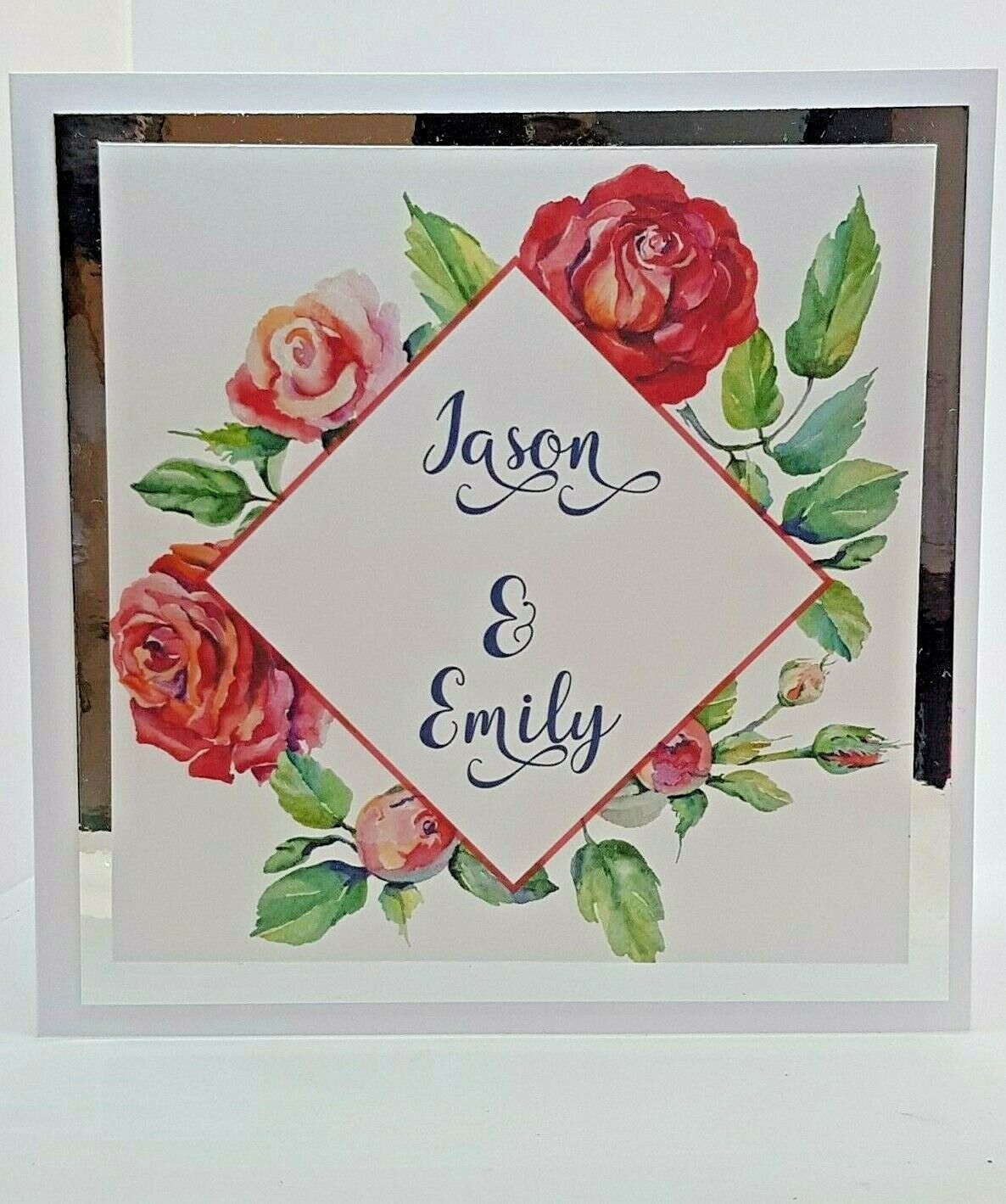 Floral Wedding Invitation 6  x 6  Complete with envelope