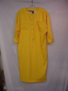 Emanuel ungaro women s sunny yellow white 3 4 sleeve dress 10 12 169