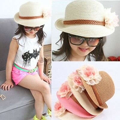 Summer Flower Sun Adumbral Straw Hat Beach Cap for Children Baby Girls Cute JJ