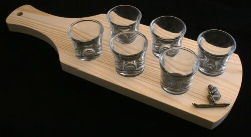 Skier Set of 6 Shot Glasses with Wooden Paddle Tray Holder 333
