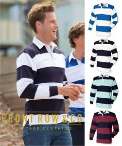 Front-Row-Homme-a-manches-longues-en-coton-a-rayures-Rugby-Polo-Shirt-Diverses-Couleurs
