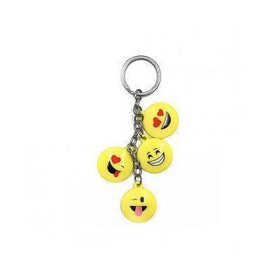 Marchio Di Tendenza ★1 Portachiavi 4 Emoji Smile Emoticon Faccine In Plastica Con Anello★