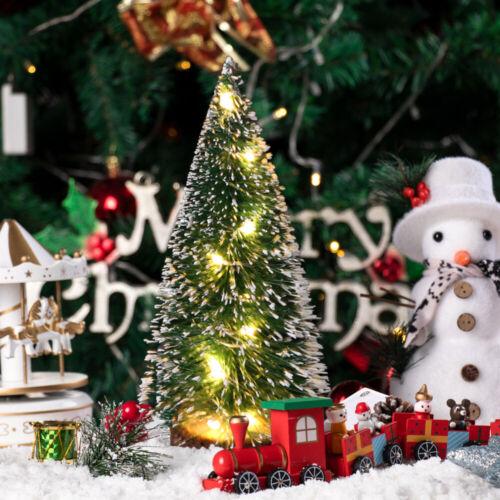 Mini LED Sisal Christmas Tree Lights Up Small Pine Tree Tabletop Xmas Decor US