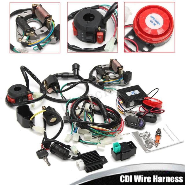 full electrics wiring harness cdi 50cc 70cc 110cc 125cc atv +remote start  switch
