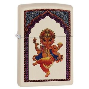 Zippo-29419-Ganesha-Cream-Matte-Finish-Full-Size-Lighter