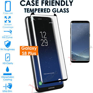 Samsung-Galaxy-S8-Plus-Case-Friendly-3D-TEMPERED-GLASS-Screen-Protector-Black
