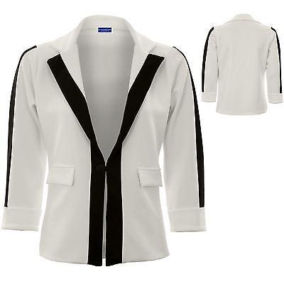 Brillant Womens Turn Up Sleeve One Button Panel Monochrome Contrast Jacket Blazer
