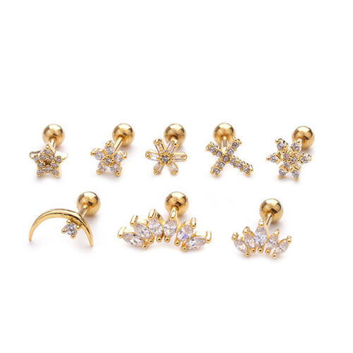 Crystal Bar Barbell Ear Cartilage Tragus Helix Studs Piercing Earrings Jewelr KY