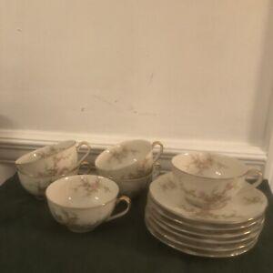 Vintage-China-Tea-Cup-amp-Saucer-Theodore-Haviland-New-York-Rosalinde-Pattern