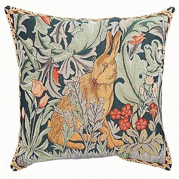 French Tapisserie médiévale lapin Pillow Cover, importés, 14  X 14 , WM. Morris
