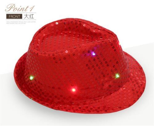 Men Hats Women LED Light Up Blinking Flashing Sequin Jazz Cap Hat Party Xmas KA