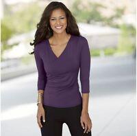 Womens Monroe & Main On My Side Purple Top Shirt Size Xl