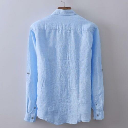 slim strandblouse de T heren linnen katoen zon Casual Vintage bescherming Tops shirt tegen 08kNnwOZPX