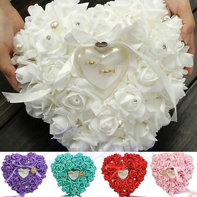 NEW Especially For you White Rose Pearl Heart Wedding Pocket Ring Pillow Cushion