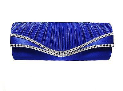 "ROYAL BLUE SATIN DOUBLE RHINESTONES Evening Bag Clutch 2.5""D X 4""H x 10.5""L"