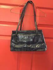 German Eel Leather Purse Navy Blue Shoulder Strap 2 Zipper Closure 2 Side Pocket