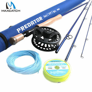 Saltwater-Fly-Rod-Combo-9-039-9WT-4Sec-Fly-Fishing-Rod-amp-9-10WT-Fly-Reel-amp-Line-Kits