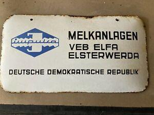 Melkanlagen  VEB Elfa Elsterwerda Emailschild