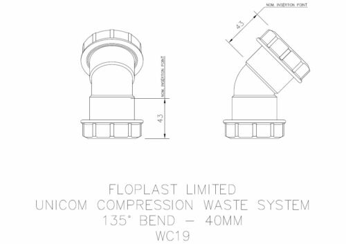 "FLOPLAST 40mm 1.1//2/"" WHITE 90º DEGREE CONVERSION BEND ELBOW COMPRESSION WASTE"