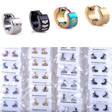 NS 10 Pairs Wholesale Mix Lot Punk Stainless Steel Earrings Hoop Huggie Ear Stud