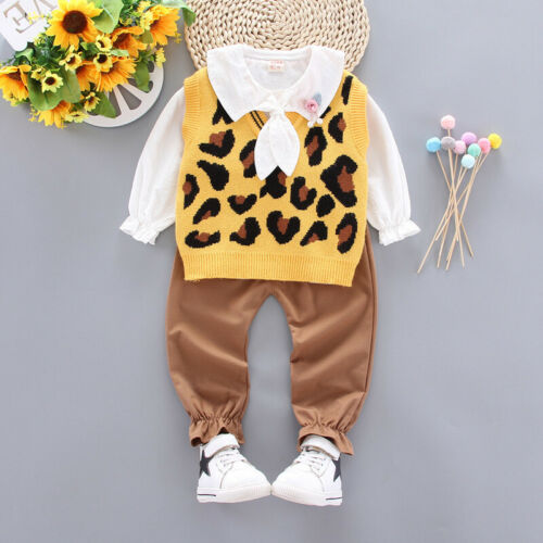 3pcs baby kids girls clothes daily birthday outfits tops+pants+sweater vest set