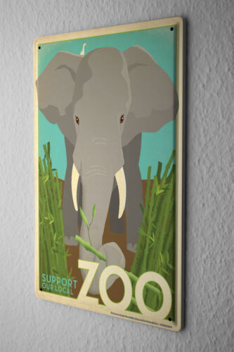 Tin Sign Wall Decor Elephant Zoo  After a storm