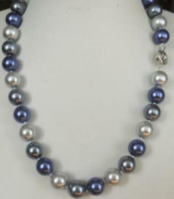 12mm Blue Graue South Sea Shell Perlenkette 54cm Im In- Und Ausland FüR Exquisite Verarbeitung, Gekonntes Stricken Und Elegantes Design BerüHmt Zu Sein