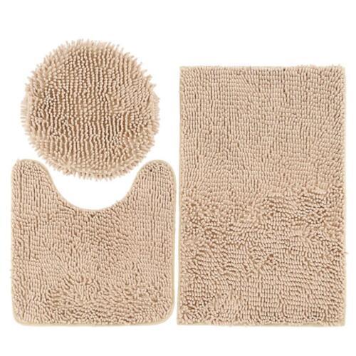 3pcs Bathroom Set Rug U Shape Mat Toilet Lid Cover Plan Chenille Bath Mats Decor