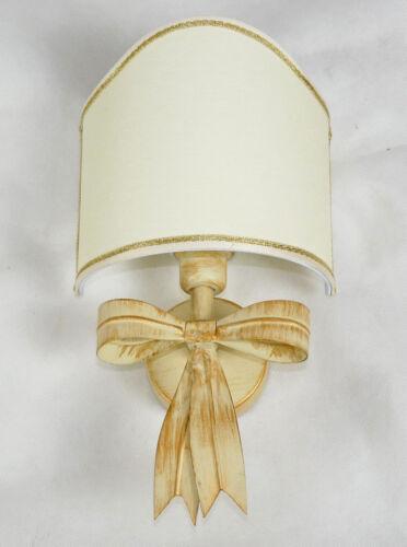Applique lampada per parete antico ferro battuto paralume avorio rustico art.676
