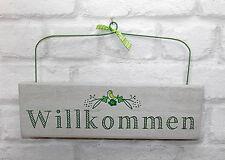 Türschild - Willkommen - grau grün Schild Holzschild Shabby Landhaus Türdeko