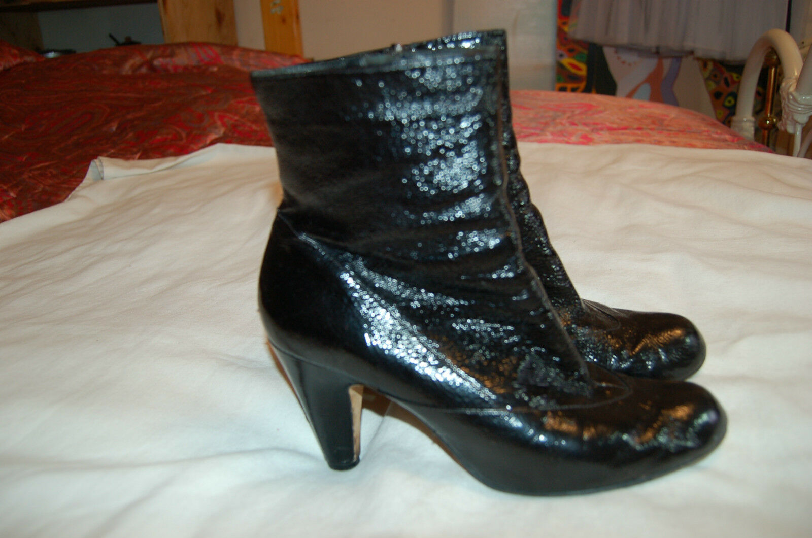Taryn by Taryn Rose Black Patent Leather Ankle Boots Heels Size 9