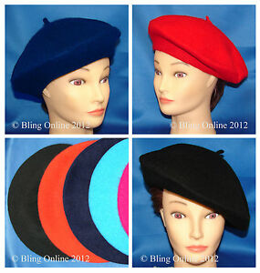 FRENCH BERET HAT CAP MENS LADIES RED BLACK NAVY BLUE FANCY DRESS ... 079262ed6cb