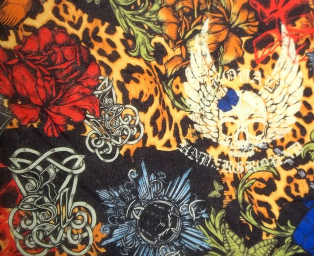 ROYAL UNDERGROUND Skull Butterfly Rose Nylon Mesh Stretch Fabric 1 Yard