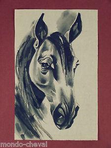 Détails Sur Mongolie Dessin à L Encre De Chine Sur Papier De Riz Tête De Cheval Horse