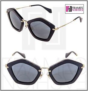 3e2a6fe041ef0 MIU MIU CULTE MU 06O Shiny Black Gold Mirrored Sunglasses MU06OS