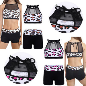 US-Girls-Dance-Sport-Outfit-Leopard-Leotard-Top-Bottoms-Gym-Ballet-Yoga-Workout