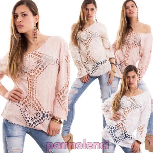Pull Femme Sangallo Dentelle Neuf Cc Perforé Transparent 1362 shirt Tunique T ffnrBdxwP