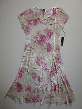 NWT KOMAROV Crinkle Floral Print V-Neck Lace Sleeve & Hem A-Line Dress 2X $298