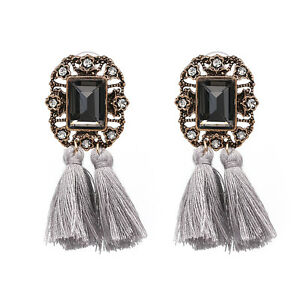 Image Is Loading Zara Grey Vintage Style Tel Drop Earrings