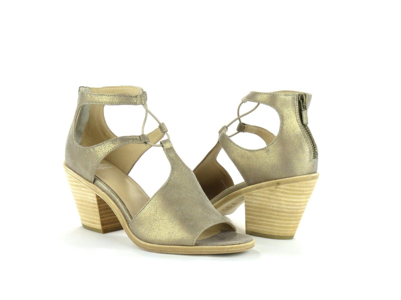 Eileen Fisher Lou Platinum Metallic Suede Open Toe Block Heel Sandal NEW 9.5