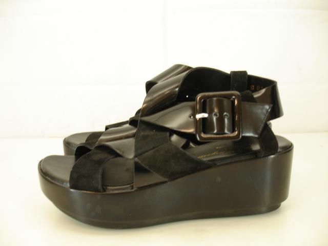 Para Para Para mujer 5.5 6 Talla 36 Robert Clergerie Pod Sandalias De Plataforma Negro Cuero Charol  los nuevos estilos calientes