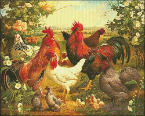 Poultry Yard DIY Chart Counted Cross Stitch Patterns Needlework DMC Color
