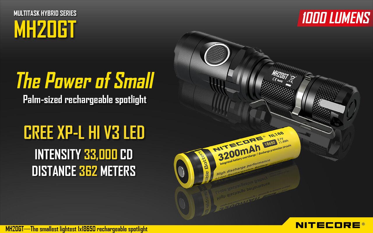 Nitecore Mh20gt Cree XP-L Hi V3 Led Ricaricabile USB Spot&flashlight 1000 Lumen