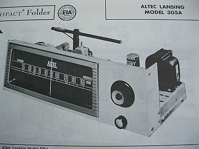 ALTEC LANSING 304A TUNER RECEIVER PHOTOFACT PHOTOFACTS