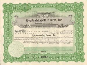 Highlands-Golf-Course-gt-Aberdeen-Washington-1929-stock-certificate-share