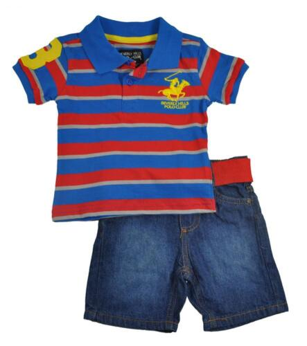 Beverly Hills Polo Club Infant Boys Striped Polo 2pc Short Set Size 12M 24M